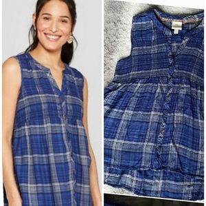 Knox Rose Plaid Rayon Smocked Top sz L